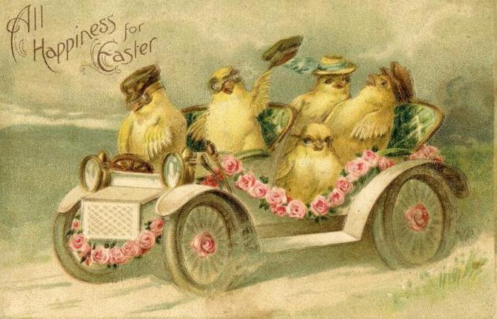 Vintage graphic of a vintage car with chicken in it, text displaying All Happiness for Easter