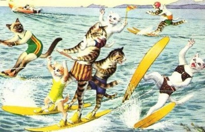 Vintage graphic of cats water skiing