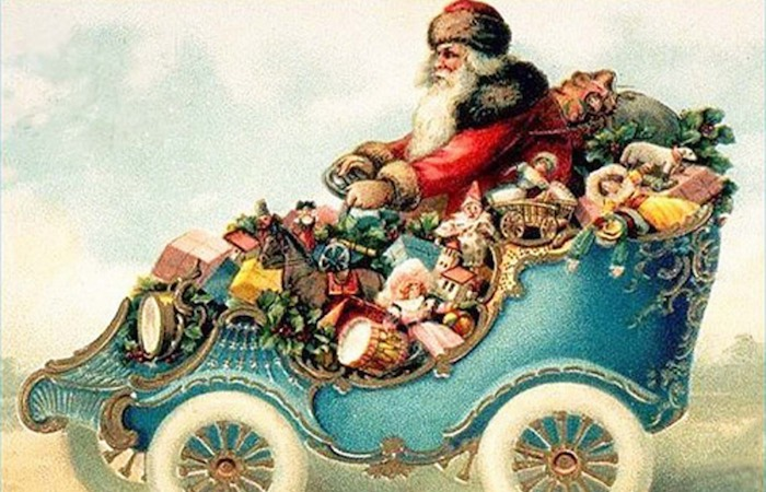 Vintage graphic of Santa Claus in a vintage car