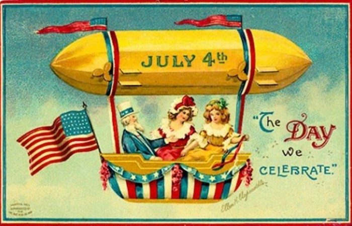 Vintage graphic of a hot air balloon and July 4th written on it, with 3 people in it, text displaying The Day We Celebrate