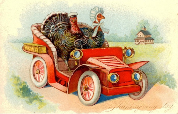 Vintage graphic of a car with 2 turkeys in it, text displaying Thanksgiving day