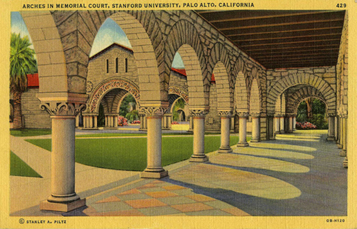Vintage graphic of arches in memorial court from Stanford University