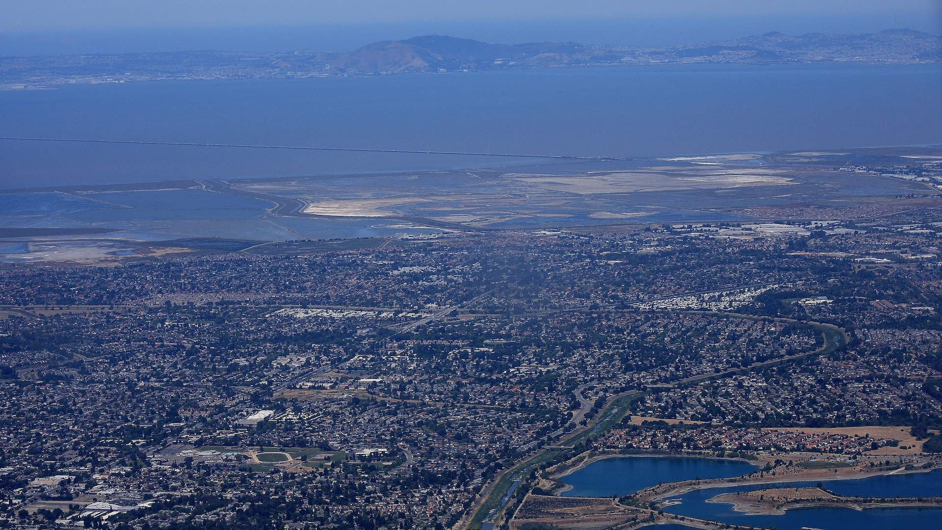 Aerial view of Palo Alto and the Dumbarton Bridge