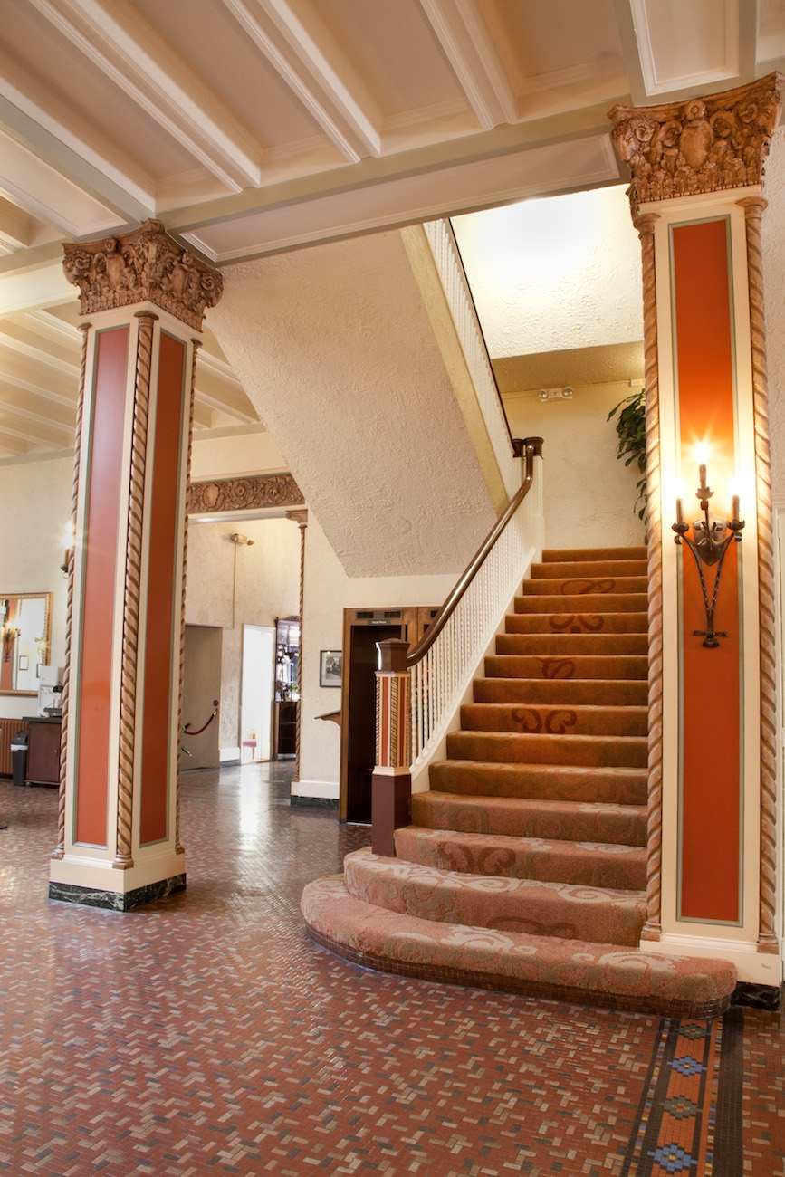 Lobby stairs to guest rooms