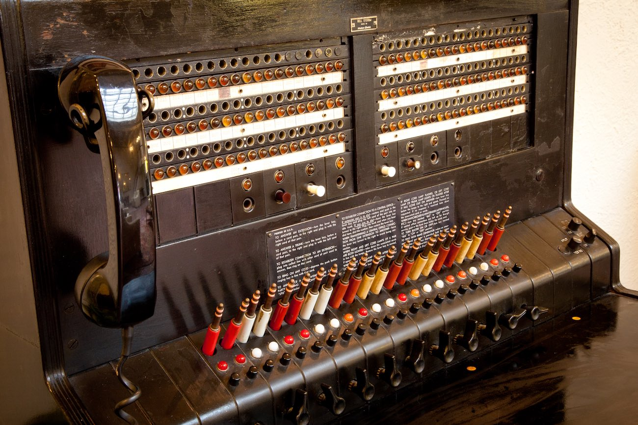 Vintage switchboard located in the hotel lobby