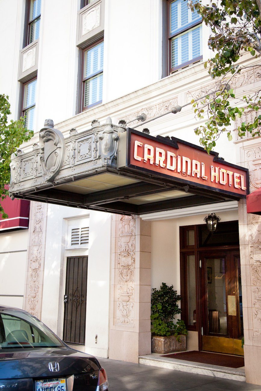 Cardinal Hotel entrance on Ramona Street
