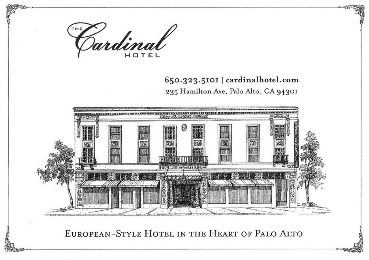 Black and white drawing of the Cardinal Hotel building, text displaying European-Style Hotel in the heart of Palo Alto and the address and phone number