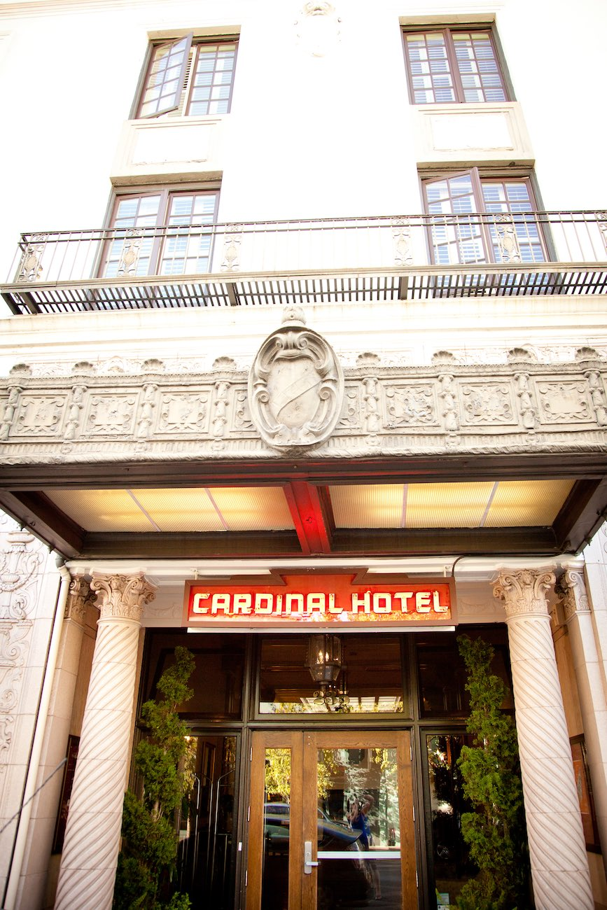 Outside view of the Cardinal Hotel main entrance