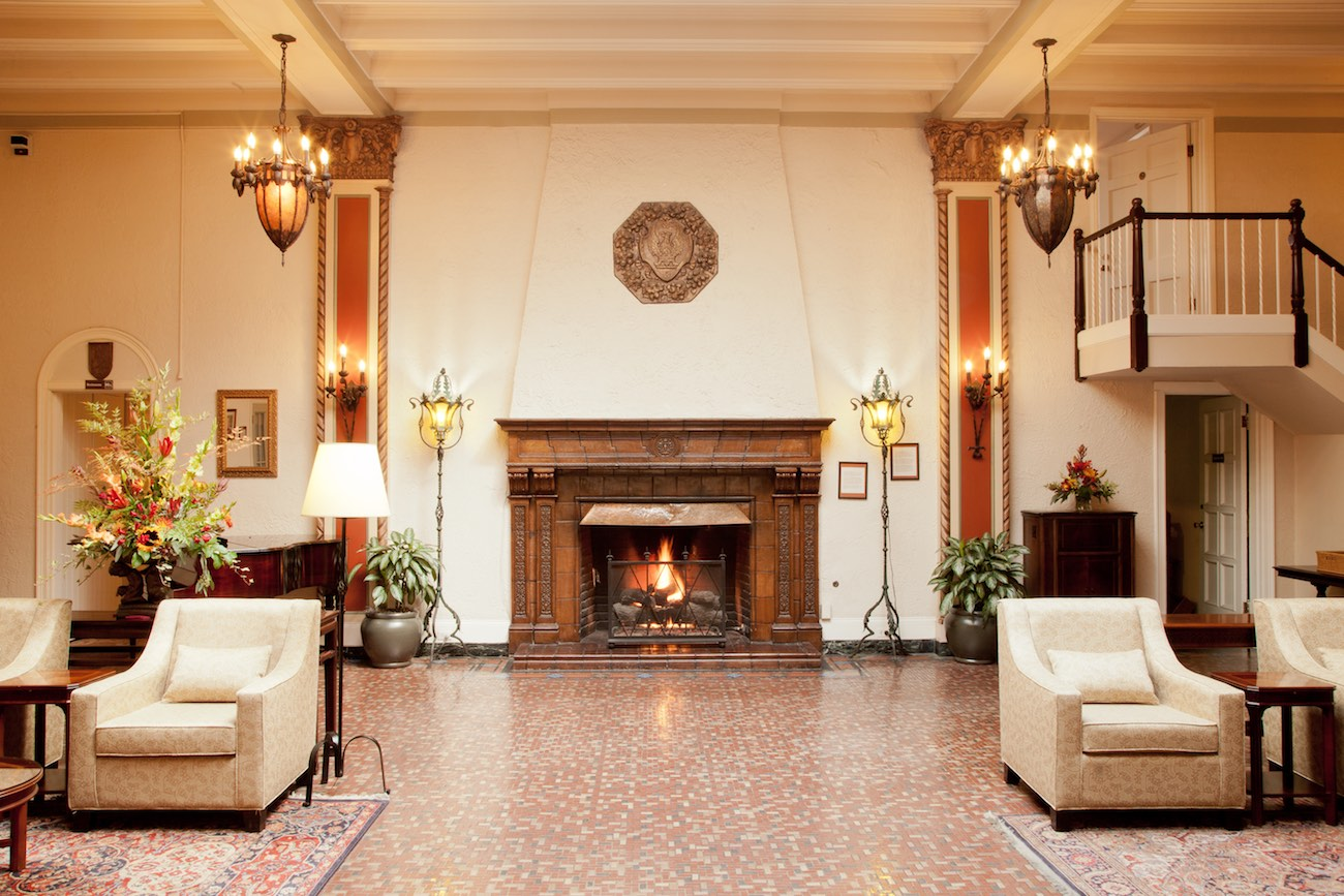 Fireplace in the hotel lobby