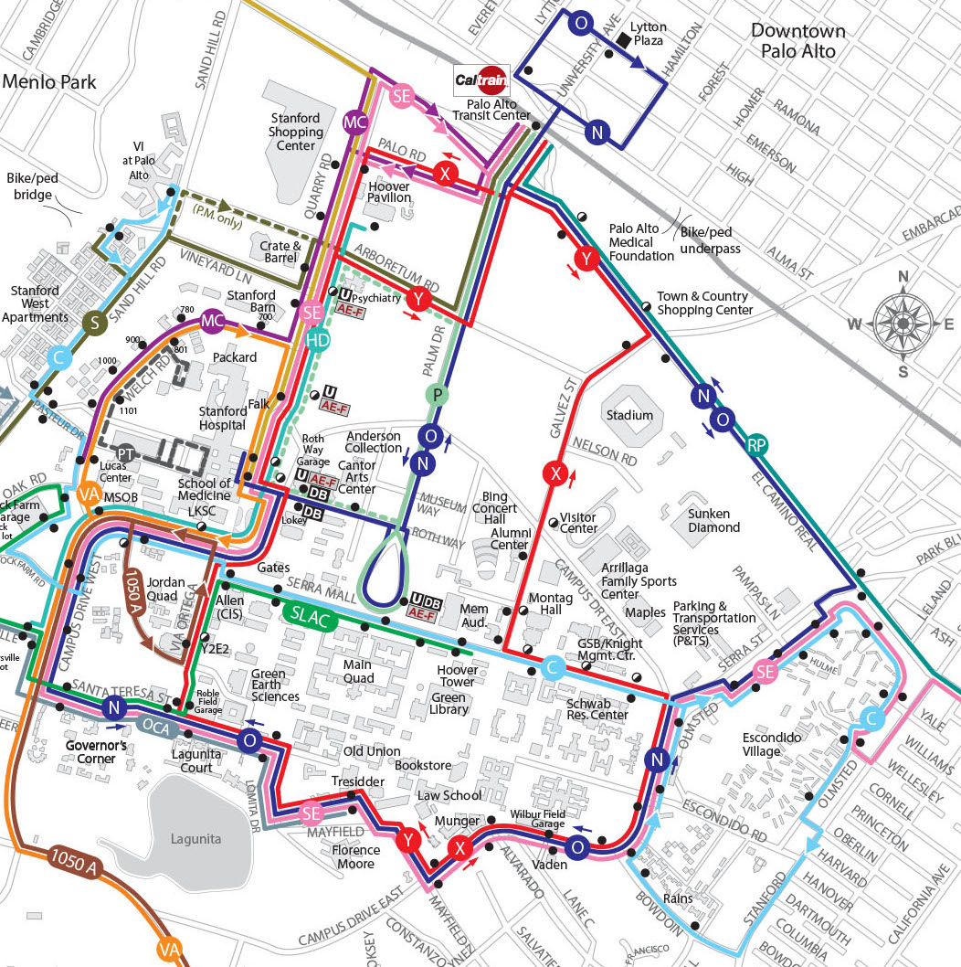 Map of the Marguerite Shuttle routes in Palo Alto