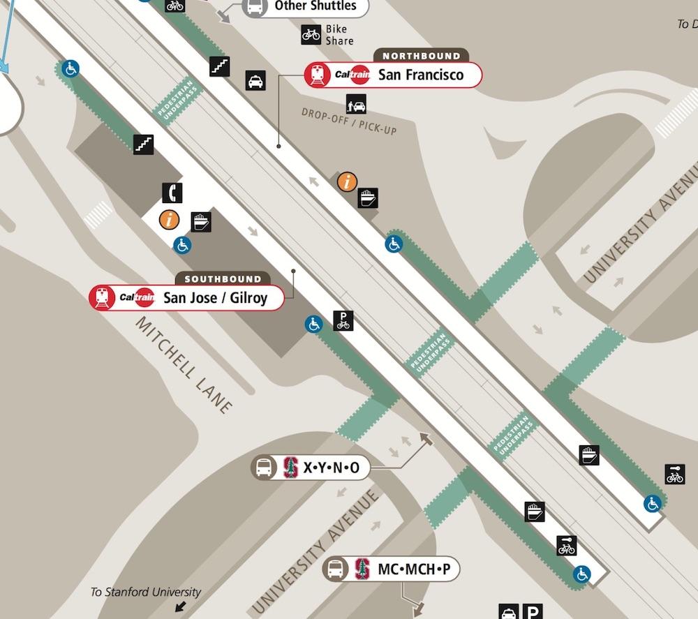 Local map of the Palo Alto Caltrain station