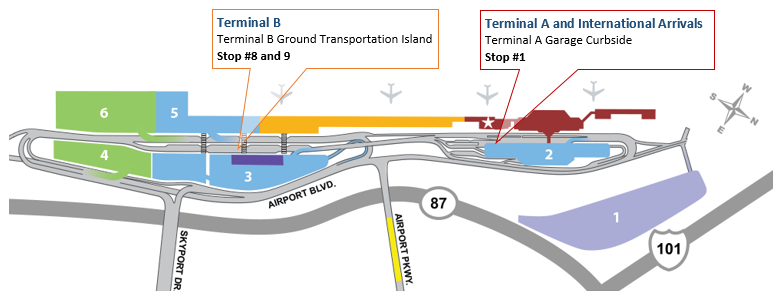 San Jose Airport terminal location map