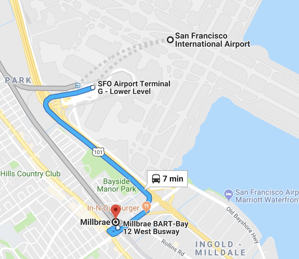 Map of public transportation between SFO and Millbrae BART station