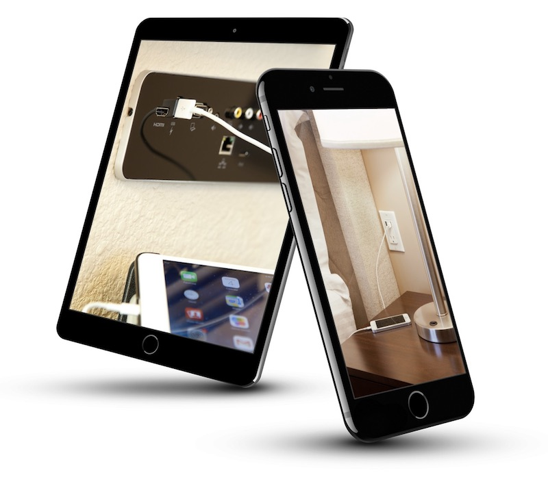 Smartphone and a tablet with images of the hotel USB racks installed in the guest rooms