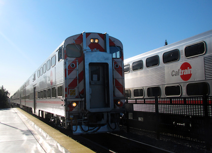 Trains at the Caltrain station
