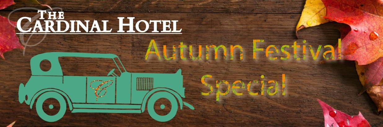 Neutral background with a vintage car as a vector graphic and text displaying Autumn Festival Special