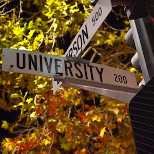 University and Emerson Street Sign
