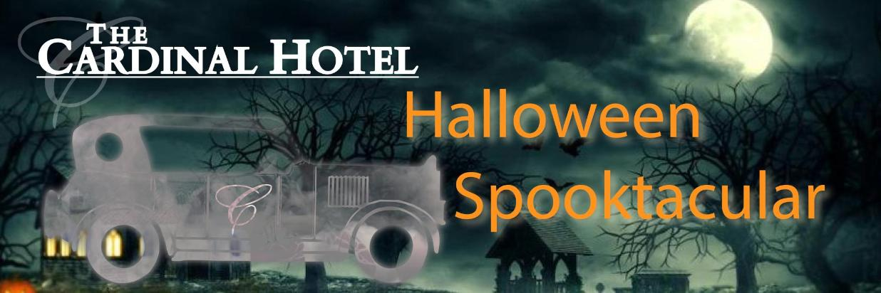 Night background with a vintage car as a vector graphic and text displaying Halloween Spooktacular