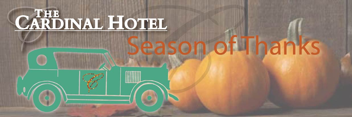 Pumpkin background with a vintage car as a vector graphic and text displaying Season of Thanks