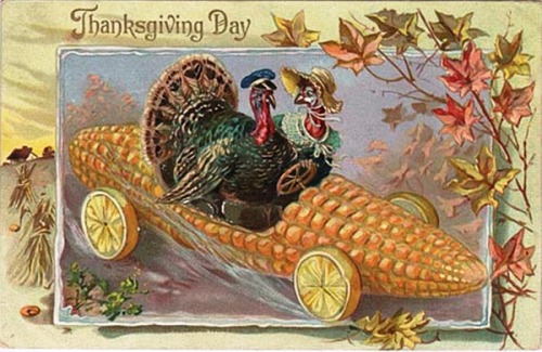 postcard image of two turkeys riding in a corn cob designed to look like a car