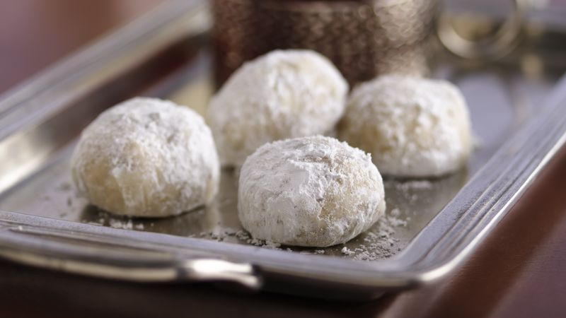 photo of Russian Tea Cookies on a silver platter