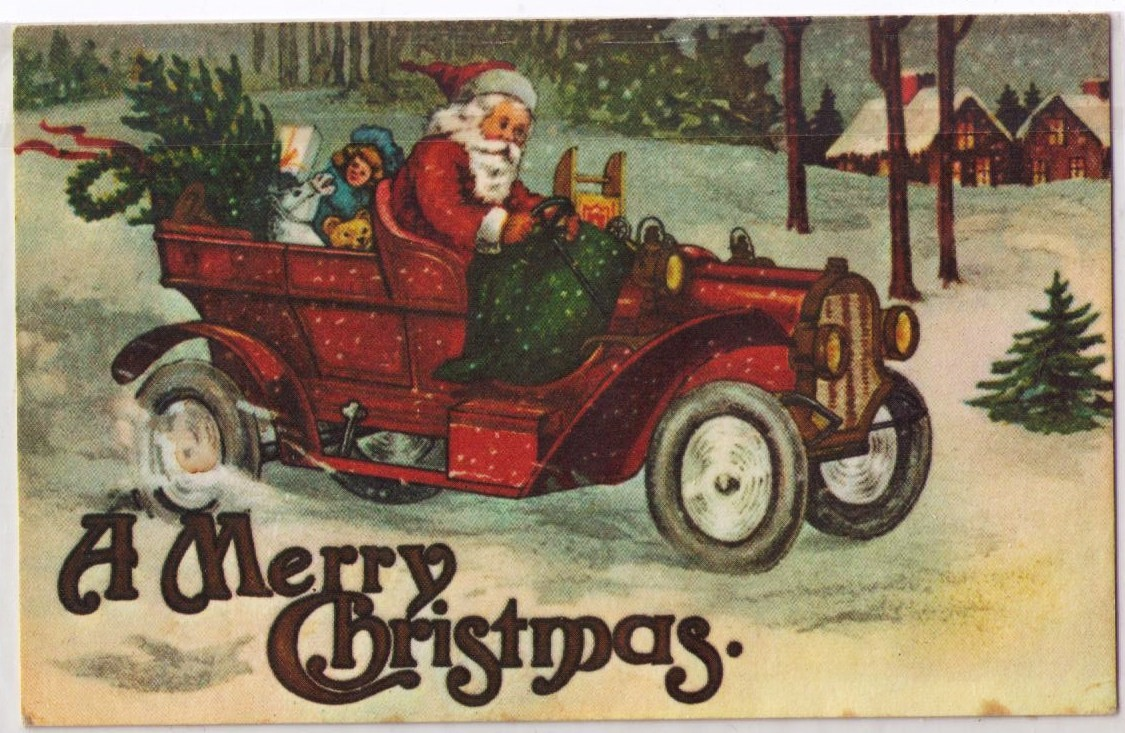 vintage postcard of Santa driving a vintage car.