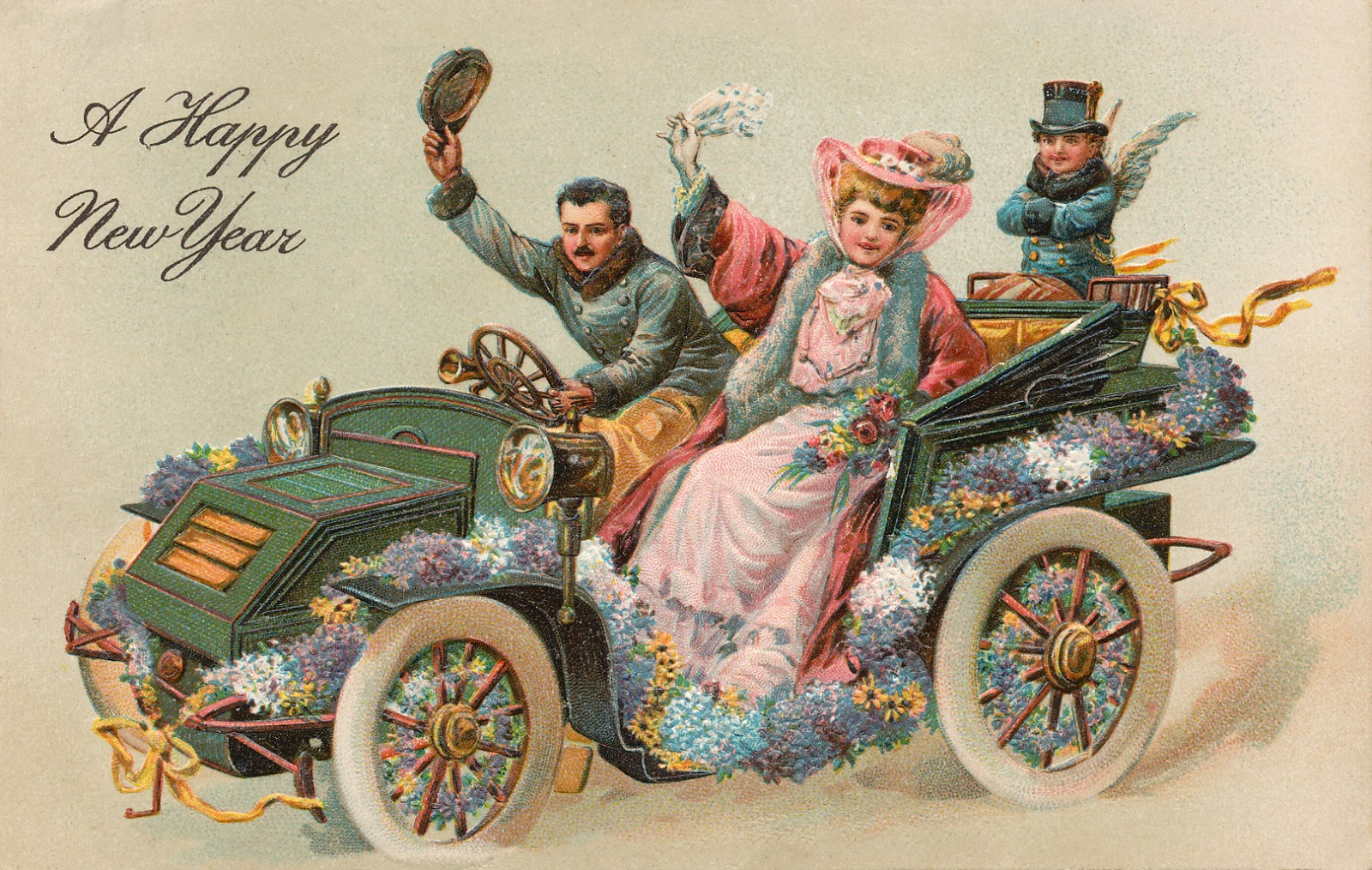 "vintage car decorated with flowers, people waving and text ""Happy New Year"""