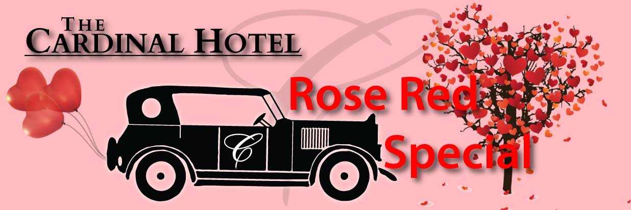 """vintage car logo with heart shaped baloons attached to the rear fender and a heart shaped tree with heart leaves and text """"Rose Red Special"""""""