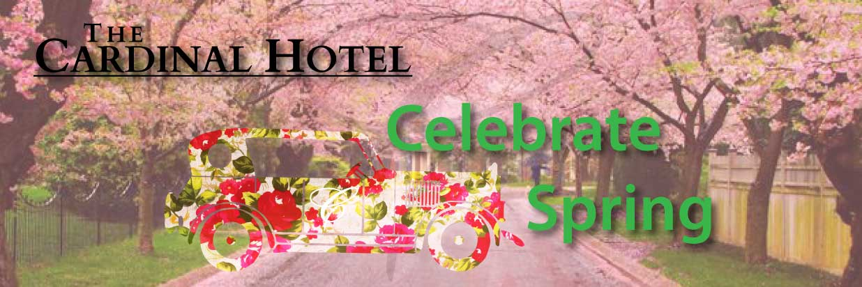 """Image of street with cherry blossom trees and a floral print vintage car with text """"celebrate spring"""""""