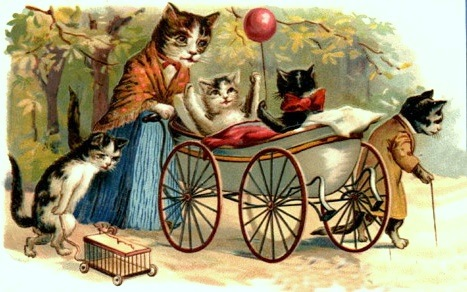 vintage post card of a cat dressed as a mom pushing a carriage with kittens