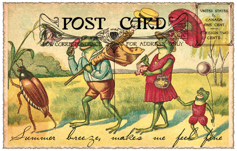 Vintage postcard image of frogs carying summer themed items