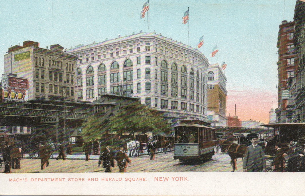 vintage postcard of Herald Square New York City.