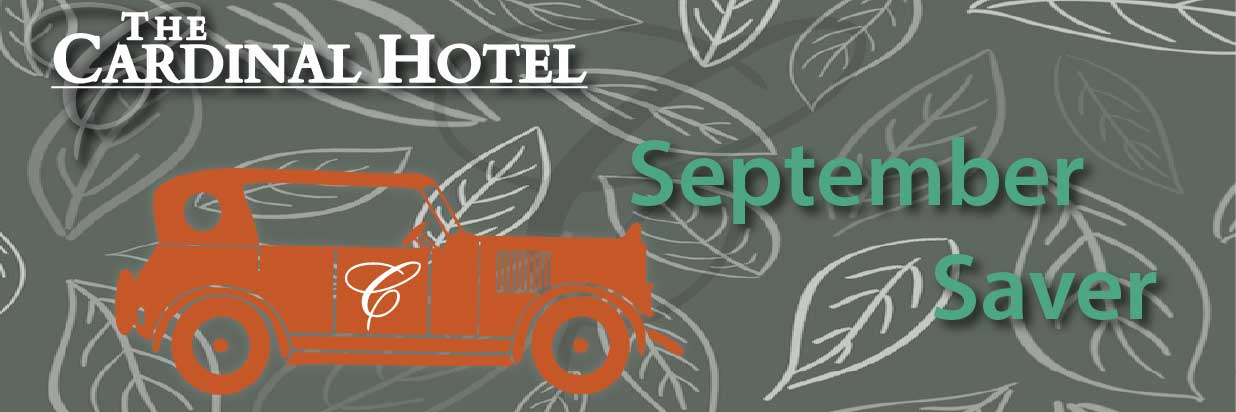 """vector leaf background with vector of a vintage car and text """"September Saver"""""""