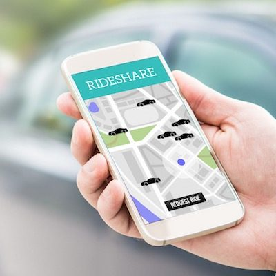 rideshare taxi app on smartphone screen